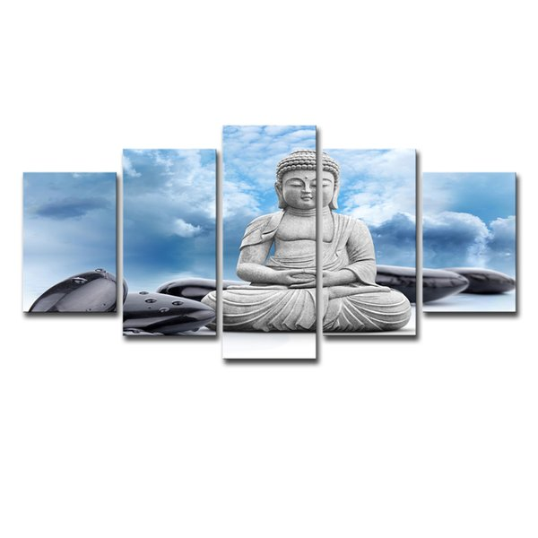 Modular Pictures Home Decor Canvas Painting Top-Rated Wall Pictures 5 Pieces Buddha Art Buddhism For Living Room Oil Painting