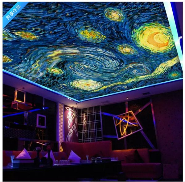 Custom 3D Photo Ceiling Wallpaper Oil painting starry sky zenith mural Wall Papers Home Interior Decor Living Room Ceiling Lobby Mural Wall