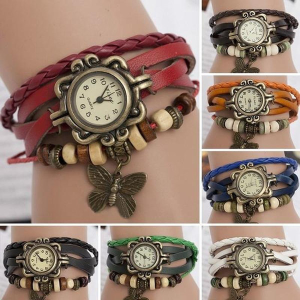 Wrist Watch Weave Braided Quartz Butterfly PU Leather Bracelet Beads Women Womans Wrist Watch No Waterproof Women