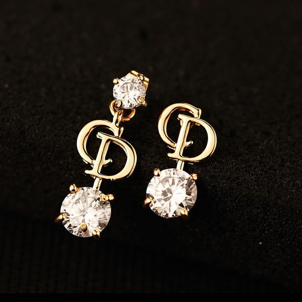 S. vex 2017 высокое качество асимметричные серьги золото D письмо серьги мода Кристалл ювелирные изделия для женщин подарок ER404