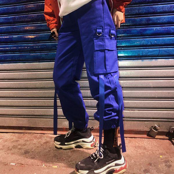 Pantalon cargo unisexe Harajuku Hiphop Ulzzang Style Street Style Big Pocket Bunch of Foot Pantalon décontracté