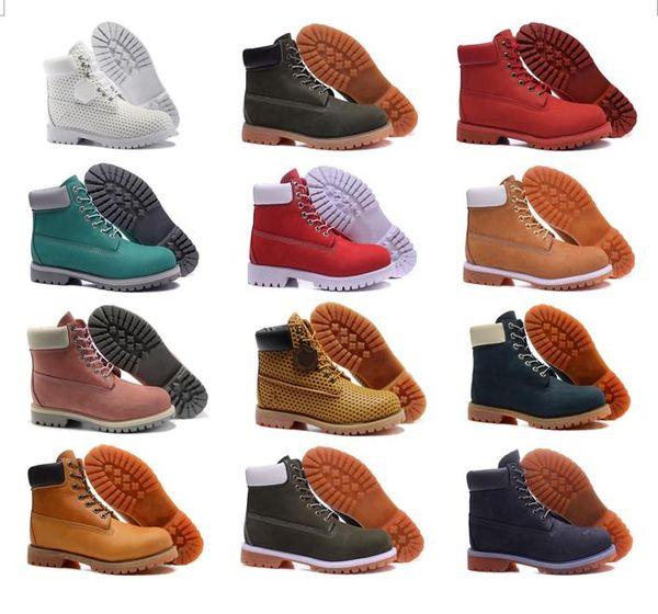 2018 Top AAA Quality Men's Tobillo Basic Contrast Collar Boot 10061 Men Women Cuero genuino Waterproof Outdoor Warm Snow Boots Martin Boots
