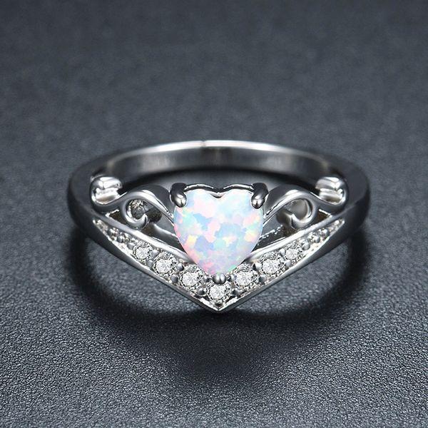 YimYik New Fashion Argento Metallo Anelli di colore a forma di cuore Opal Women Jewelry Ladies Wedding Anelli di fidanzamento Regali Vendita calda