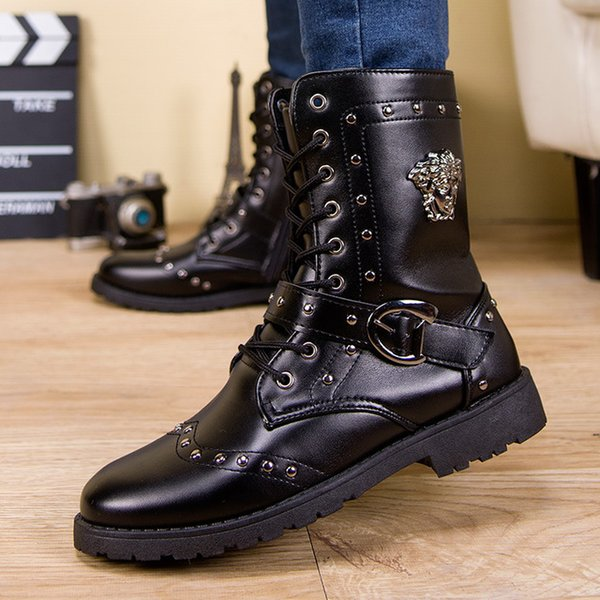 Mens Army Military Boots Outdoor Soft Leather Motorcycle Boots Men Zip Ankle Boots Men Shoes Casual Martin Shoes Botas Hombre Q-190