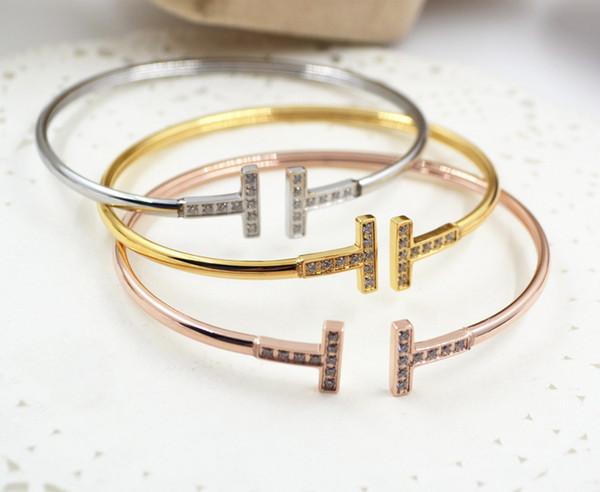 Top ouvertures à la mode, bracelet I, style simple de la dame, bracelet T en or rose, bracelet de bijoux en diamants, ornements de main en alliage lisse