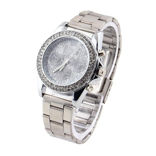 Reloj de pulsera de cuarzo para mujeres con esfera de diamantes de imitación de acero inoxidable