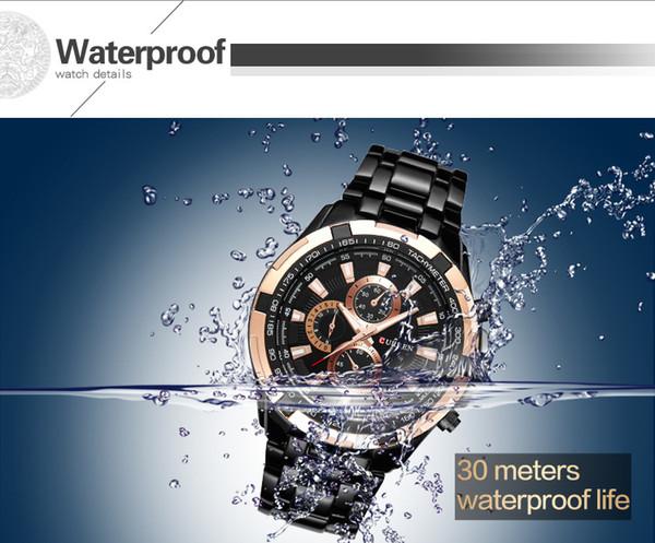 Luxury Famous UOMO Elegante Curren8023 Giappone Movt Acciaio Orologio da polso nuovo tuffo in acciaio inossidabile Sport orologi militari stile Mens