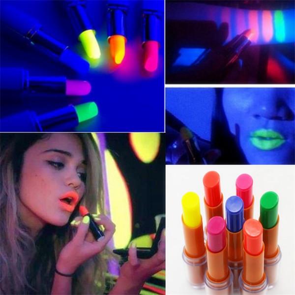 Blue Pink Lipstick Waterproof Maquillaje de larga duración para la noche KTV Bar Nightclub Shine Brillo brillante Fluorescence Lip Stick Tint Lipstick