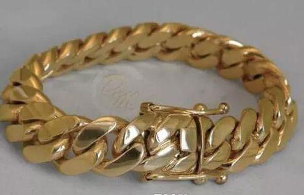 "best selling 14K Gold Miami Men's Cuban Curb Link Bracelet 8"" Heavy 99.7 Grams 14mm"