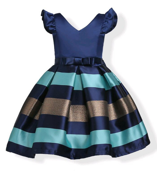 Fashion Puff Sleeves Mix Color Stripe Jacquard Party Dress for Girls Wedding Satin Europe and American Princess Dresses fit 3-10 Years kids