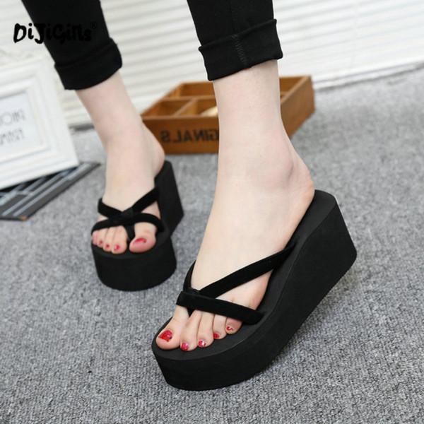 DIJIGIRLS Plateforme Sandales Femmes À Talons Hauts Zapatillas Chaussures Chinelo D'été Mode Pantoufles Straped Flip Flops Noir Pantufa