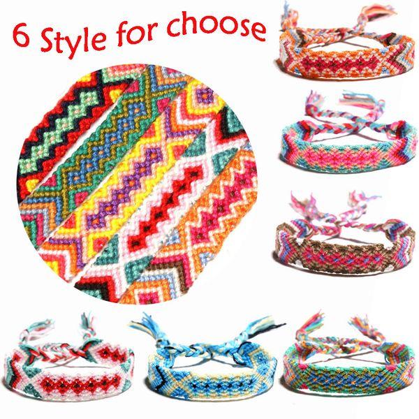 Hot Selling 6 Colors Friendship Bracelets Handmade National Wind Summer Bracelet Boho Woven Strand Thread for Hair Ponytail Jewelry H683F
