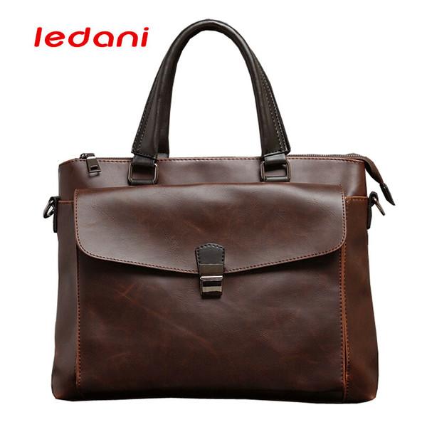 LEDANI Retro Men's Briefcase Fashion Handbags For Man PU Leather Bag Business Male Travel Crossbody Bags Shoulder 14 inch Laptop