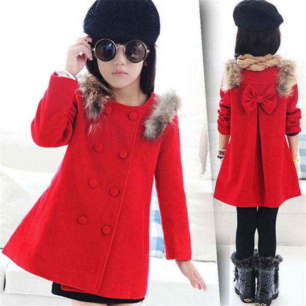 Best Deal 2018 Abbigliamento per bambini all'ingrosso ragazza autunno primavera nuovo stile coreano bambini cappotto rosso lana soprabito ragazze
