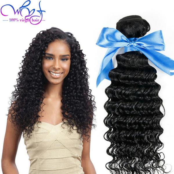 WYF Unprocessed Brazilian Human Hair With Frontal Closure Brazilian Virgin Human Hair Weave 4 Bundles Deep Wave Hair Weaves Good Quality