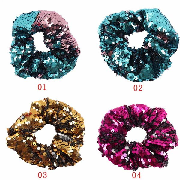 2018 Newest Shiny Sequin Elastic Hair Band For Ponytail Holder Girls Handmade Reversible Sequin Fashion Hair Ties Hair Accessories