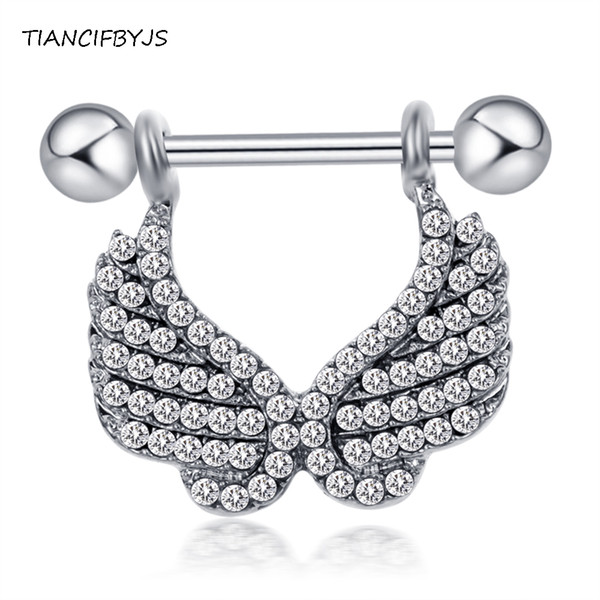 TIANCIFBYJS 14G Surgical Steel Nipple Barbell Rings Sheild Crystal Sexy Nipple Piercing Fashion Body Jewelry For Women Men 20pcs