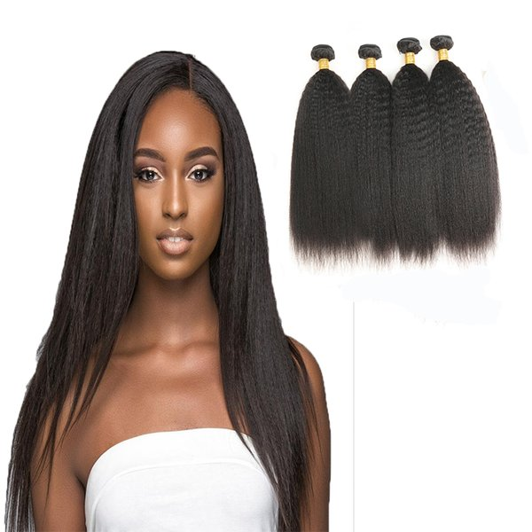 Brazlian Kinky Straight 4 Bundles Real Human Hair Non Remy Weave Bundles Machine Double Weft No Shedding And Tangle Free
