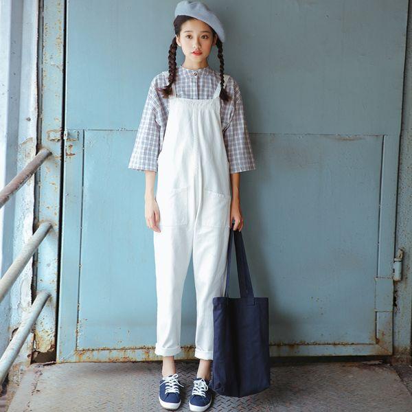 2018 Loose Ladies Denim Overalls Korean Fashion Casual High Waist Boyfriend White Casual Feet Jeans Pants Women Spring Autumn