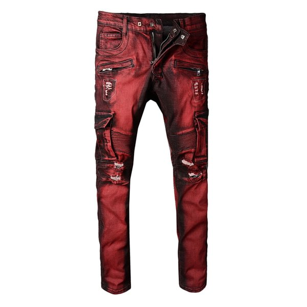 New France Style Men's Multi Pocket Moto Pants Ribbed Stretch Skinny Burgundy Cargo Biker Jeans Slim Trousers #1043#