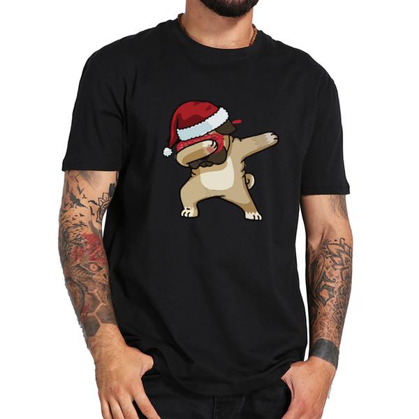 Maglietta Dabbing Christmas Cute Dog Animal Design Camicia a maniche corte Uomo 100% Cotton T-Shirt Fitness confortevole Formato USA