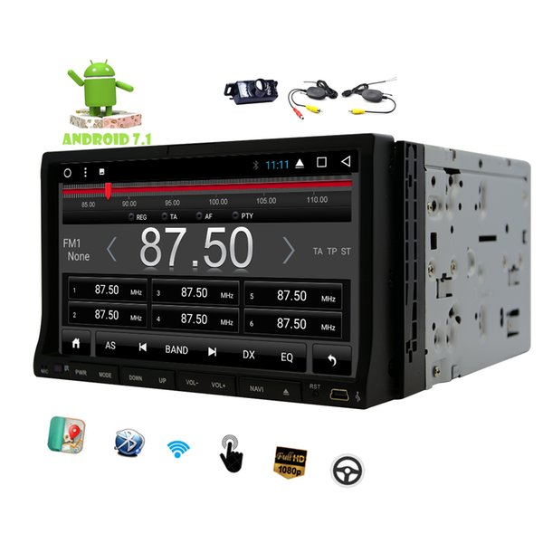 Wireless Camera 7'' Car dvd Stereo Android 7.1 Touchscreen Double Din 2G RAM in Dash 1080P Video Octa-Core GPS Navigation Wifi Bluetooth