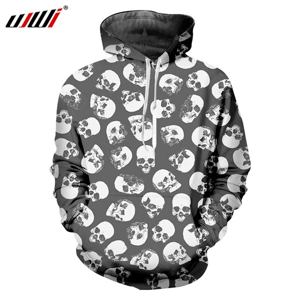 UJWI Man Loose Sports Hoodies 3D Mini Skulls Punk Rock Men's Hooded Pullover Printed Oversized Funny Casual Sweatshirt 6XL