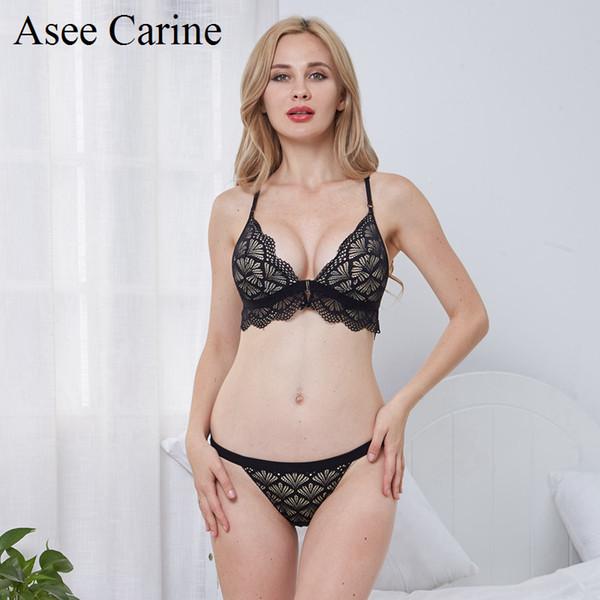 Asee Carine Hollow Out Lace chiusura anteriore farfalla Backless Bra e perizoma Set Women Underwear triangolo rimovibile Bralette