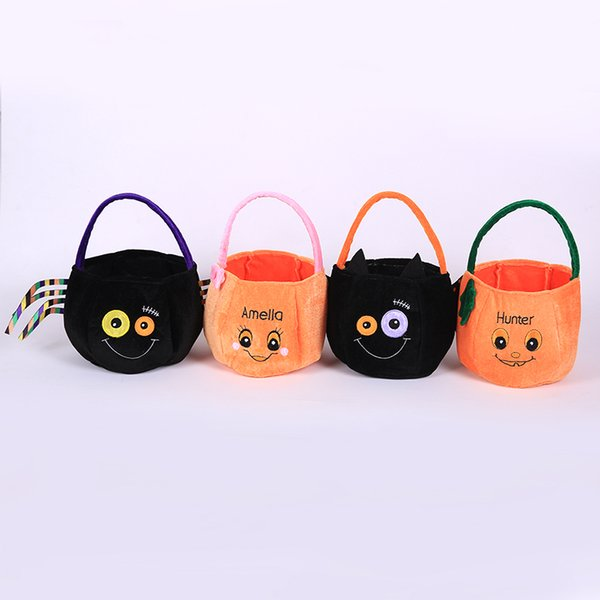 Halloween Pumpkin Candy Bag Trick Treat Cute Smile Basket Face Children Gift Handhold Pouch Tote Bag Non-woven Pail Prop Decoration Toy