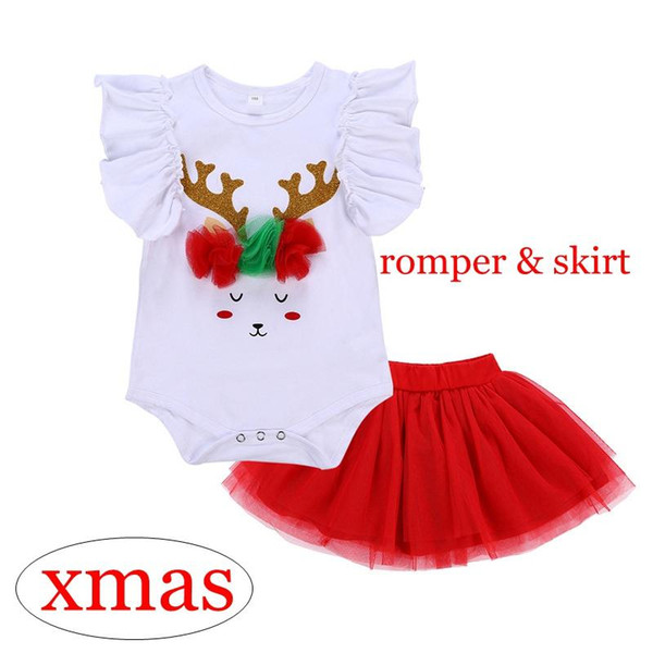 Xmas Girls Clothing Sets deer 3D flowers Fly Sleeve rompers & Christmas red skirts 2pcs Outfit for 6-18M