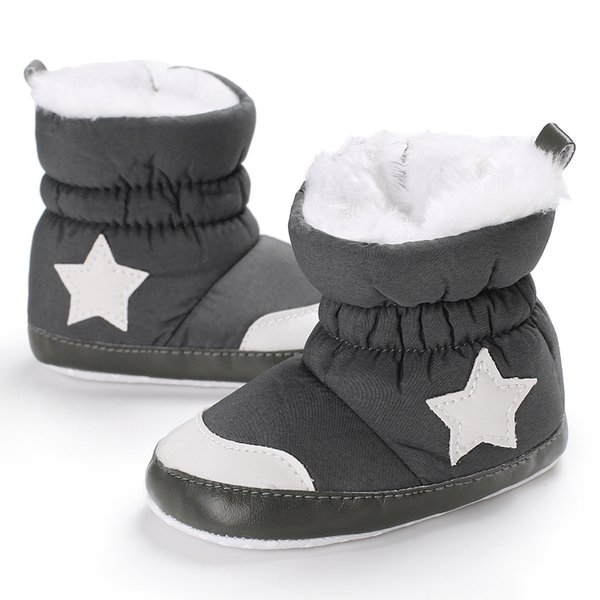 Soft bottom Newborn baby boot winter keep warm shoes with thick fur infant girls boys first walker white star baby moccasins