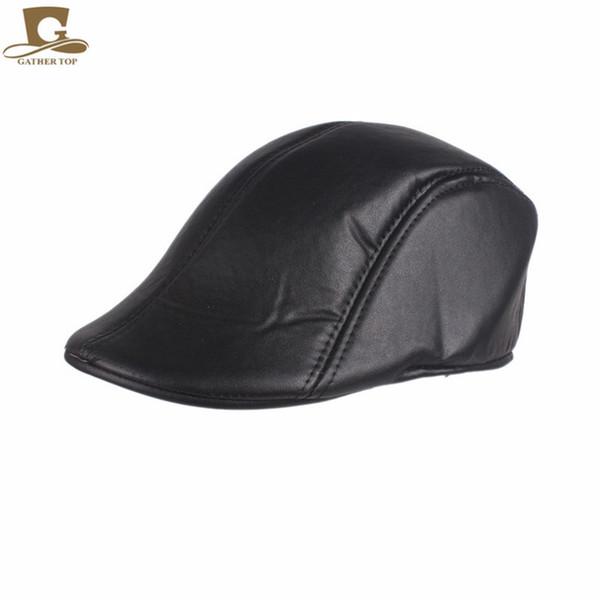 New Boina Man Beret Hat Cabbie Newsboy Gatsby Drive Golf Flat Caps Leather Beret Cap for Men