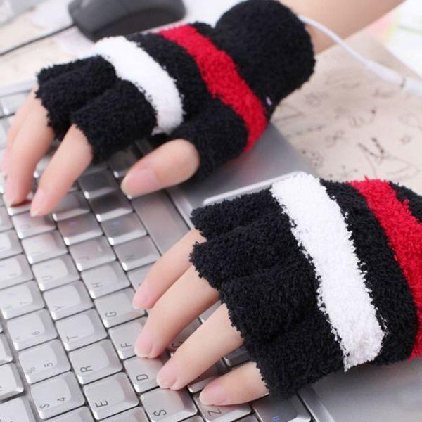 Women USB Heating Hand Warmer Winter Gloves Women Arm Crochet Knitting Faux Wool Warm Fingerless Gloves Femme