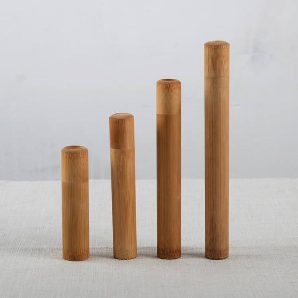 Conjunto de 4 tamaños diferentes Mini caja de almacenamiento de té de bambú Especias de la vendimia Tarro de madera hecho a mano titular de incienso Stick recipiente de viaje