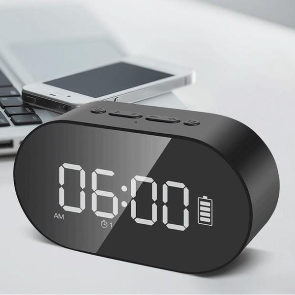 P1 Bluetooth Wecker Lautsprecher LED-Anzeige Digital Spiegel mit Aux TF-Karte USB-Flash-Disk FM Home Office Tragbarer HIFI-Lautsprecher