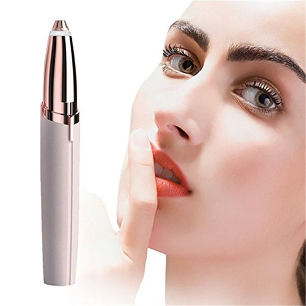 Lipstick Eye Brows Hair Remover Micro Precision 18K Gold Plated Remover Epilator Eyebrow Trimmer Shaving Machine Razor Built in LED Light