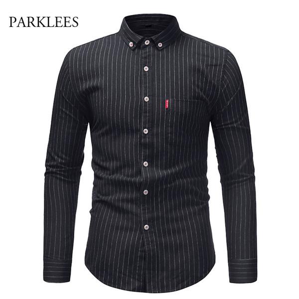 2018 New Fashion Brand Black Camisa Masculina Long Sleeve Shirt Men Korean Slim Stripe Design Formal Casual Male Dress Shirts