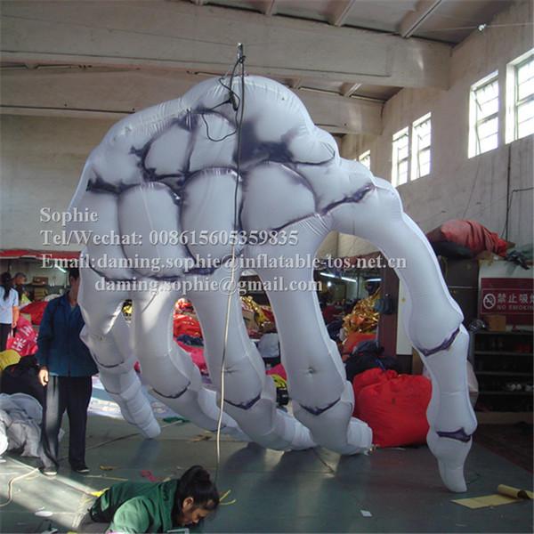 Airblowing main squelette gonflable pour décoration Halloween main blanche squelette Halloween avec ventilateurs libres
