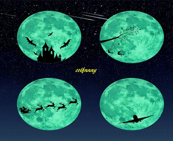 10pcs/lot 30cm Creative Luminous Castle Moon Sticker Removable Glow In The Dark Christmas DIY Sticker Wall Decal Home Decor