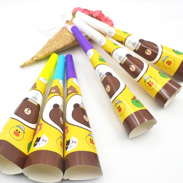 6pcs/bag Cute Brown Bear Party Supplies Cartoon Baby Birthday Decoration Party Favors Whistle Blowouts For Kids Boys Trumpet