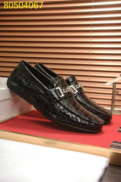 2018 nuove scarpe casual da uomo in pelle nera di alta qualità