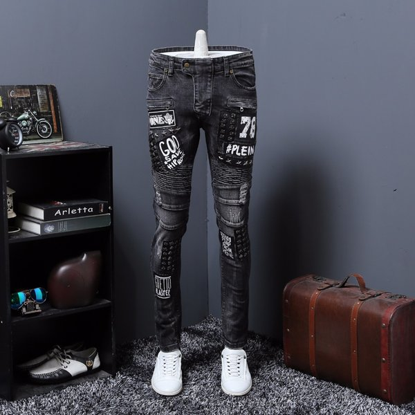 Autumn New Fashion Hole denim pants hip hop mens fashion jeans men skinny jeans mens biker ripped jean Scratched pantalones