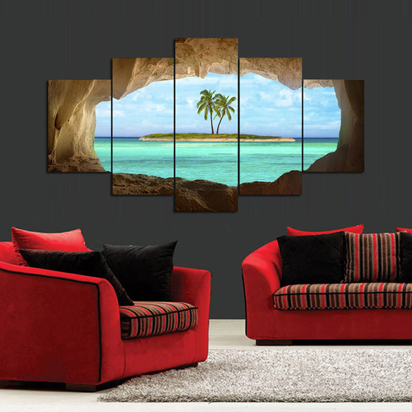 XXL hot sell sea Beach coconut tree cave Landscape Poster Canvas Print Group Painting Wall Art Home Decoration Poster Unframed Y18102209