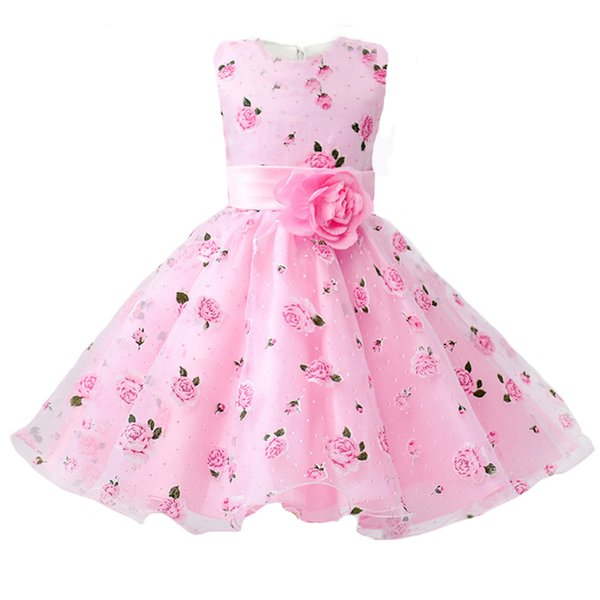 Girls Party Dress 2017 New Arrival Summer Flower Print Birthday Prom kids Clothes Baby Girls Dress for 3-8 Years