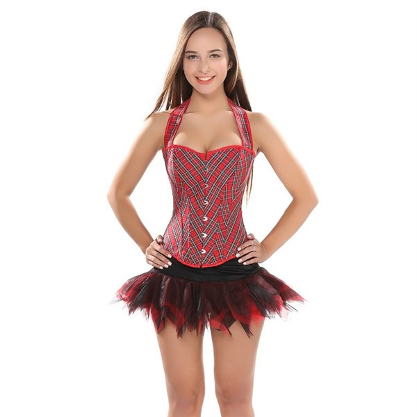 Women Straps Red Grid Boned Overbust Corset Top Slim Body Shaper Halter Neck Bustier With tutu Skirt Sexy Corset Dress