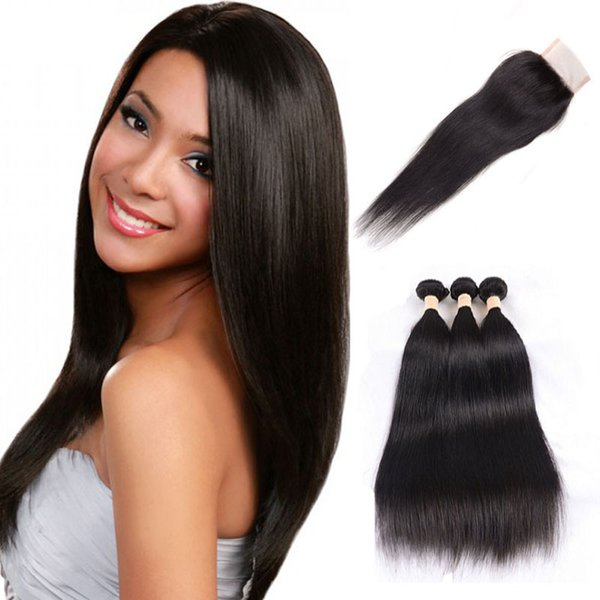 Indian virgin remy hair weft 3 bundles with closure straight closure with 3 pieces hair weft unprocessed hair extensions