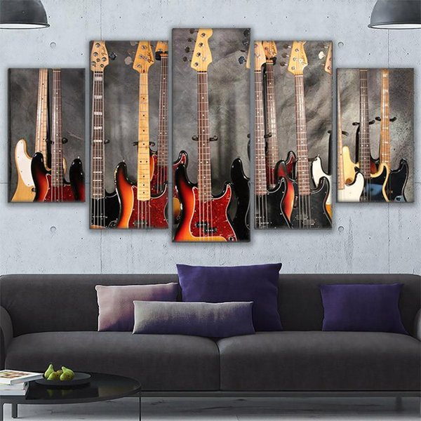 Living Room Wall Art Modern Pictures Frame Home Decor 5 Pieces HD Prints Bass Guitar Collage Canvas Painting Music Poster PENGDA