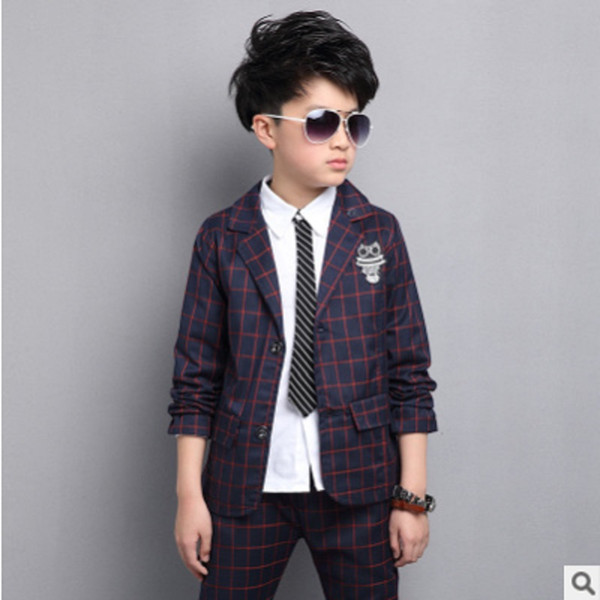 Boys Suits Sets 2017 New Spring Boys Leisure Suits Children's Fashion 2 Solid Colors Single-breasted Plaid Suits Size4-14 ly106