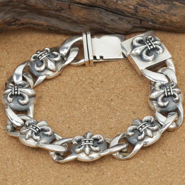 Wholesale S925 Sterling Silver Jewelry Male Paragraph Thai Silver Bracelet Rough Chain Rough Domineering Men Must