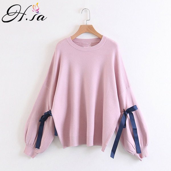 H.SA Sueter Mujer 2017 Autumn Women Oversized Sweater and Pullovers O Neck Latern Sleeve Bow Knitted Jumpers Female Pull Sweater